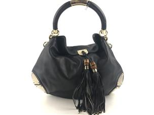 04b4e5a5aba520 GUCCI LEATHER LARGE BABOUSKA INDY TOP HANDLE BAG BLACK 177088 ...
